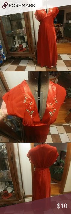 Breathtaking red nightgown Red nightgown with Sexy sheer top and embroidery, empire waist, tie back, from Delicates, Size small, great condition!  Bundle this with any other item priced $10 and get them both for $15 (or bundle with 2 more and get all 3 for $20).  I MUST MAKE THE BUNDLE TO GET THIS DEAL, not the automatic bundle feature.    Price firm unless bundled. Thanks! delicates Intimates & Sleepwear