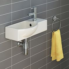 From 38.49 Ibathuk   Modern Ceramic Small Cloakroom Basin White Wall Hung Bathroom Sink Ca1006