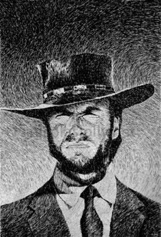 Blondin (Clint Eastwood) - Portrait. Par Nicolas Jolly. Encre de Chine et plume.  Prints and objects :  http://society6.com/NicolasJolly/Blondie-portrait-2_Print#1=45