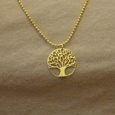 Collier arbre de vie / chaîne boule plaqué or / arbre de vie plaqué or