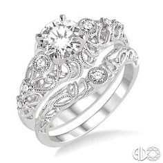 5/8 Ctw Diamond Wedding Set with 1/2 Ctw Round Cut Engagement Ring and 1/20 Ctw Wedding Band in 14K White Gold