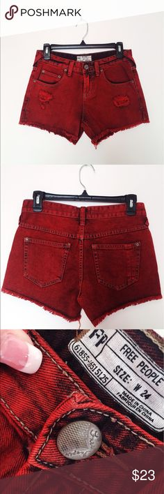 sunset red free people shorts cute and trendy! in great condition! open to reasonable offers! feel free to use the offer button or comment! Free People Shorts Jean Shorts