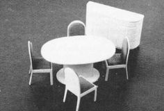 """Helen Dorsett (1985). Modern Dining Room, 1/2"""" Scale. Complete plans, patterns, and instructions. In The Scale Cabinetmaker, Volume 9:4. Issue available as digital download from dpllconline.com. Issue price: $6."""