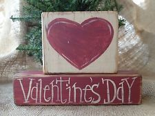 Primitive Country Heart Happy Valentine's Day Shelf Sitter Wood Blocks