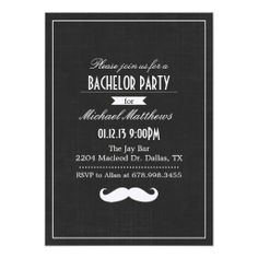 Black and White Mustache Bachelor Party Invitation