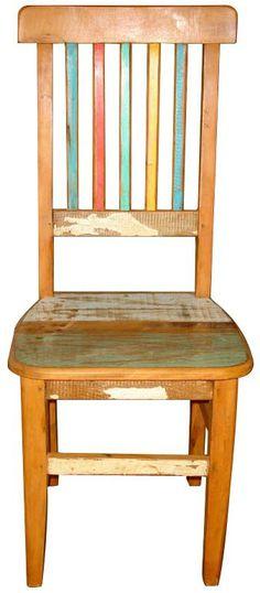 Cadeira Arco Íris em madeira de demolição (Cód 240) - Barrocarte
