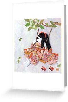 'Beautiful Japanese doll on a swing' Greeting Card by JoAnnValencia Framed Prints, Canvas Prints, Art Prints, Japanese Doll, Hayao Miyazaki, Traditional Japanese, Kraft Envelopes, Glossier Stickers, Art Boards