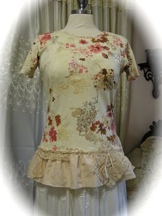 Shabby Cotton Top - soft creme roses cottage style tee shirt, altered clothing, doily lace SMALL. $45.00, via Etsy.