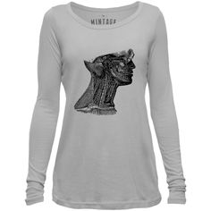 Mintage Arteries of the Neck Womens Long-Sleeve Scoop Top