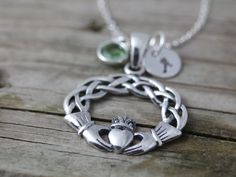Claddagh Necklace .Sterling Silver Celtic Knot, Love, friendship symbol . Personalized jewelry . Initial Necklace, Birthstone Necklace