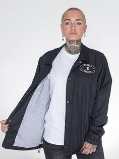 ELEVENCULT - LIFE LOVE DEATH COACH JACKET- Black Coachjacket Front - LIFE LOVE DEATH 2016 Winter Collection - Tattoo Model / Tatted / Tattoos / Apparel / Tarot Card / Tarotcards  - 11.11.11. Threeeleven Cult Clothing