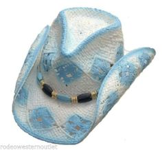 2330c09f5a8 Western Baby Blue Pinch Front Cowgirl Cowboy Hat Country Western Hat age  7-adult Western
