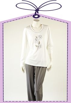 nightdress in white and grey by Charmor online at www.pyjama-und-co.com