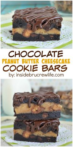 Dark chocolate cookie bars with a peanut butter cheesecake center...just yes!!!