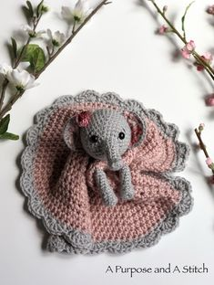 Ellie the Elephant Lovey- Free Crochet Pattern ~ A Purpose and A StitchEllie the Elephant Lovey is an adorable friend who wants to snuggle and be loved. This free crochet pattern includes lots of step-by-step pictures to help you along the way of mak Crochet Lovey Free Pattern, Crochet Animal Patterns, Crochet Blanket Patterns, Crochet Animals, Baby Blanket Crochet, Lovey Blanket, Crochet Birds, Crotchet Patterns, Crochet Crafts