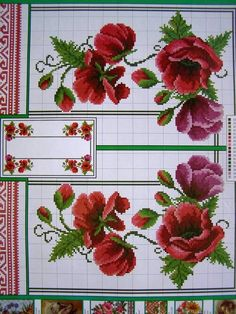 Ukrainian Cross Stitch Embroidery Flower Patterns for Tablecloth Pillow 57 Varia | eBay