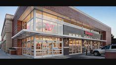 Ideas for exterior building design commercial store fronts Pharmacy Design, Retail Design, Shop Interior Design, Store Design, Facade Design, Exterior Design, Retail Architecture, Architecture Diagrams, Modern Garage Doors
