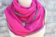 Fashion  infinity scarf hot pink    color with trim  by aCutee