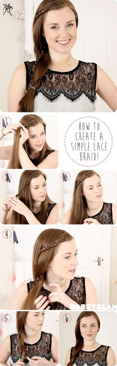 Want to try something different? Try this hair tutorial for a simple lace braid. This is a very pretty but simple hairstyle!