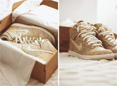 Dream Shoes. Gold sparkly Nike Dunks. I Want These!!!!!