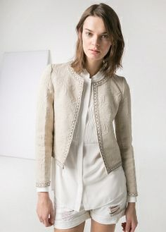 Strukturierte Jacke mit Perlen - MANGO