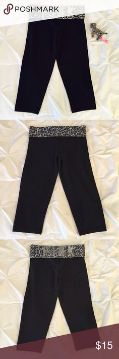 VS PINK // leopard crop yoga legging pre-loved : good condition (no damage/stains, pic#4 shows light general pilling & minor fading in silver logo print) / 87%cotton & 13%elastane (durable weight - thick but not hot, not sheer, soft & great stretch) / black w/gray leopard/animal pattern & silver print / stretchy capri leggings, thick fold-over patterned waistband w/silver logo print on back of waist / listing is for leggings only / true PINK size S / purchased @ PINK Victoria's Secret PINK…