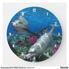 Shop Oceanworld 2 Wall Clock created by Gatterwe. Blue Wall Colors, Be Your Own Kind Of Beautiful, Ocean Themes, Cartoon Pics, Beach House Decor, Ocean Life, Artwork Design, Coastal Decor, Dolphins