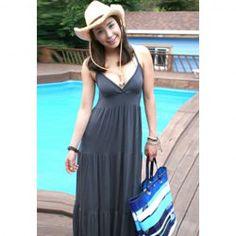 $14.82 Bohemia Plus Size Solid Color V-Neck Strap Cotton Blend Long Dress For Women