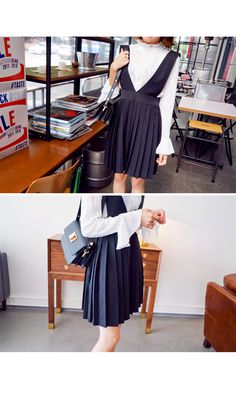Pleated Deep V Pinafore Dress | IMVELY: Shop Korean clothing, bags, shoes for women