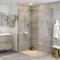 This aluminium & glass walk-in shower panel from Cooke & Lewis has been created to bring a stylish finishing touch to your bathing area. It's reversible so can be used left or right handed, ideal for a busy home. Loft Bathroom, Upstairs Bathrooms, Bathroom Layout, Modern Bathroom Design, Bathroom Interior Design, Small Bathroom, Bathroom With Shower And Bath, Grey Marble Bathroom, Small Shower Room