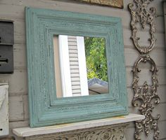 Antique Tin Ceiling Tile Mirror. Framed 2'x2'. Texas salvage Circa 1910. Turquoise Mirror. Architectural salvage. .