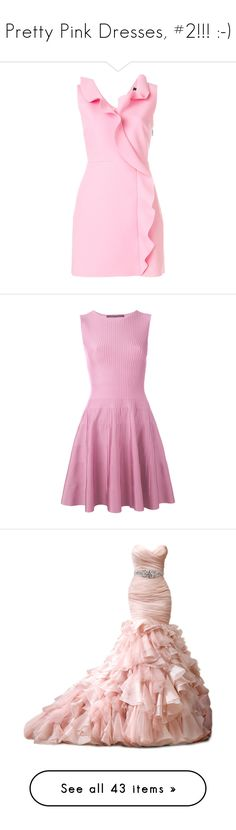 """""""Pretty Pink Dresses, #2!!! :-)"""" by vahrendsen1988 ❤ liked on Polyvore featuring dresses, short dresses, pink v neck dress, pink ruffle dress, v neck short dress, v neckline dress, pink, pink skater dress, skater dresses and pink dress"""