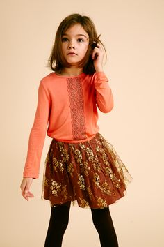 @ilovegorgeous Regents Top - Coral, Park Skirt - Brown #AW14