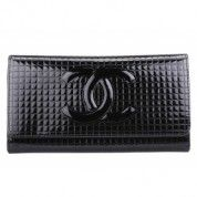 Chanel Quilted Patent Leather Flap Wallet - Black $135