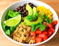 15 Minute Quinoa Burrito Bowls Recipe Main Dishes with quinoa, vegetable broth, corn, black beans, lime, romaine lettuce, avocado, roma tomatoes, cilantro, green onions, salsa