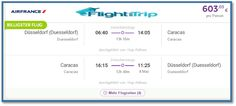 AIR FRANCE FLUG VON DÜSSELDORF NACH CARACAS IM APRIL - MAI 2016 FÜR 604 EURO