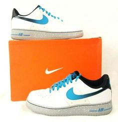 ec1ae9c31b Nike 488298 119 AF1 Air Force One Galaxy Pack White Blue Basketball Shoe Sz  9 #