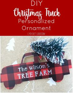DIY Buffalo Check Christmas Truck Ornament tutorial. This DIY gift is perfect for Christmas ornament lovers! Easy to customize with family or baby names. Try this easy DIY for a special Christmas gift!