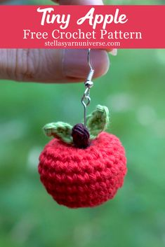 Crochet Apple – Free Mini Amigurumi Pattern – Stella's Yarn Universe Tiny Amigurumi Apple Crochet Apple, Crochet Food, Crochet Gifts, Cute Crochet, Crochet Fruit, Crochet Teacher Gifts, Crochet Keychain Pattern, Crochet Patterns Amigurumi, Beginner Crochet Patterns