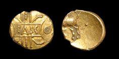 Tasciovaunus Gold Quarter Stater 1.37 grams, 11.53 mm. TASC in tablet on vertical wreath / Pegasus galloping left, tail raised, pellet behind. M. 185; VA. 1786; BMC 1647-50; S. 266; ABC 2601