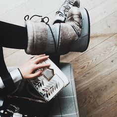 Daydreaming of moon boots and snowy days prepares for winter with and the LOCKETT PETITE bag {regram} by rinarae. Ski Holidays, Moon Boots, Winter Sun, Brand Store, Fur Boots, High Heel Pumps, Isabel Marant, Fashion Boots, Jimmy Choo