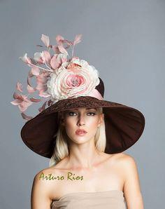 Brun chocolat / rougir / vieux rose rose chapeau de Derby, chapeau derby kenucky, Del mar chapeaux, chapeau de couture.
