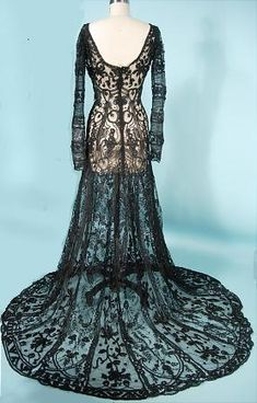Gothic Charm School: pretty things • 1908 black dress. So, so delicate and beautiful. ...