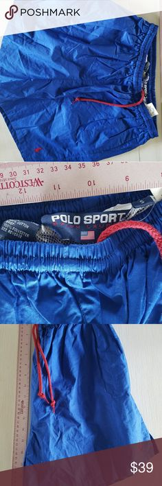 Polo Sport blue swim suit with red polo and ties Polo Sport swim suit, blue with red polo and ties, measurements are in the pictures. New with tags, also in the pictures, this is great for trips to the beach not to mention the pool. Check out our other new w/tags Polo Sport swim wear. Polo Sport  Swim Swim Trunks