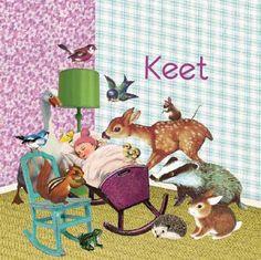 retro vintage Geboortekaartje Keet - Alle dieren uit het bos zijn samen gekomen om dit kindje te bewonderen - Petit Konijn