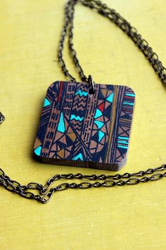 walnut screenprinted wooden necklace.