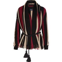 Lanvin Fringed sriped wool cardigan ($940) ❤ liked on Polyvore featuring tops, cardigans, outerwear, jackets, sweaters, lanvin cardigan, striped top, wool cardigan, wool shawl collar cardigan and fringe top