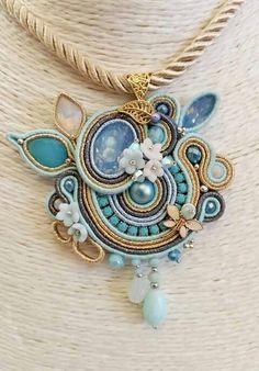 Soutache Pendant, Soutache Jewelry, Pendant Necklace, Shibori, Beaded Embroidery, Turquoise Necklace, Handmade Jewelry, Pendants, Candleholders