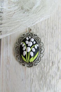 Polymer clay jewelry, Flower necklace pendant, Lily of the valley