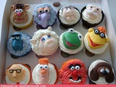 Muppet cupcakes.  (mup-cakes)